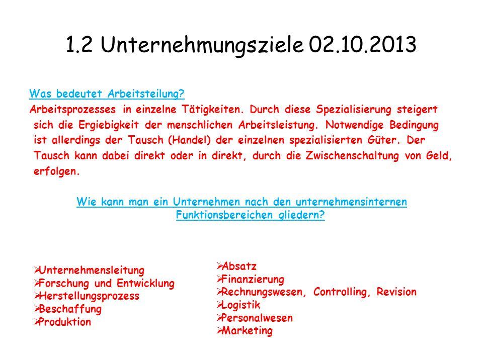 1.2 Unternehmungsziele 02.10.2013 Was bedeutet Arbeitsteilung? Arbeitsprozesses in einzelne Tätigkeiten. Durch diese Spezialisierung steigert sich die