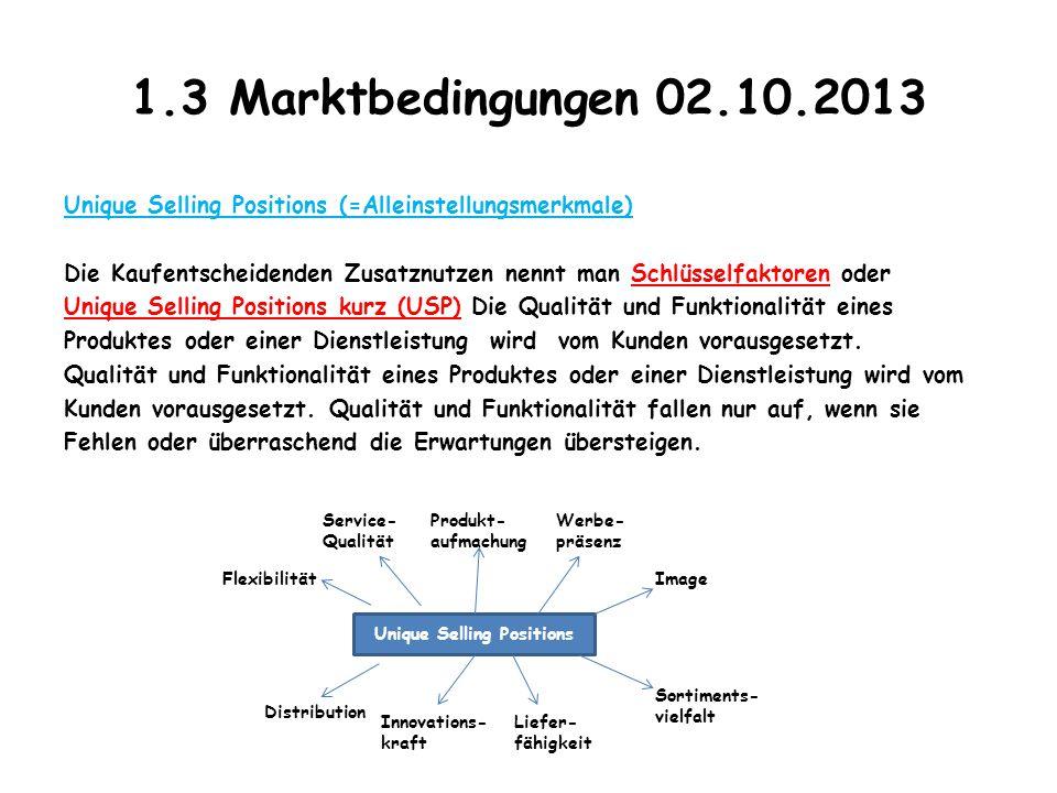 1.3 Marktbedingungen 02.10.2013 Unique Selling Positions (=Alleinstellungsmerkmale) Die Kaufentscheidenden Zusatznutzen nennt man Schlüsselfaktoren od