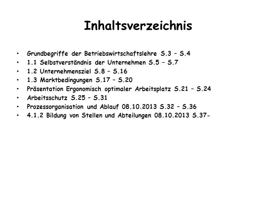 Inhaltsverzeichnis Grundbegriffe der Betriebswirtschaftslehre S.3 – S.4 1.1 Selbstverständnis der Unternehmen S.5 – S.7 1.2 Unternehmensziel S.8 – S.1