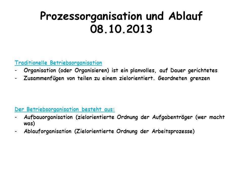 Prozessorganisation und Ablauf 08.10.2013 Traditionelle Betriebsorganisation -Organisation (oder Organisieren) ist ein planvolles, auf Dauer gerichtet