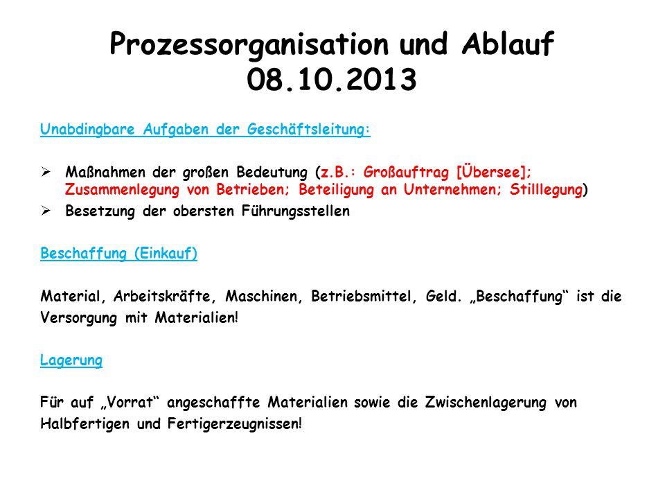 Prozessorganisation und Ablauf 08.10.2013 Unabdingbare Aufgaben der Geschäftsleitung:  Maßnahmen der großen Bedeutung (z.B.: Großauftrag [Übersee]; Z
