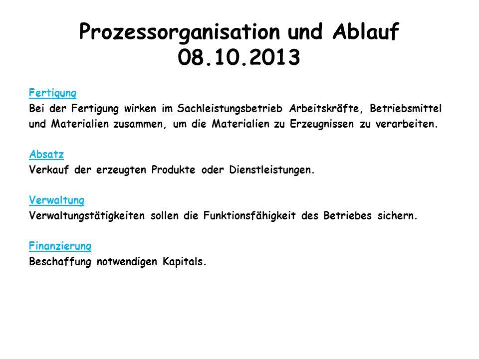 Prozessorganisation und Ablauf 08.10.2013 Fertigung Bei der Fertigung wirken im Sachleistungsbetrieb Arbeitskräfte, Betriebsmittel und Materialien zus