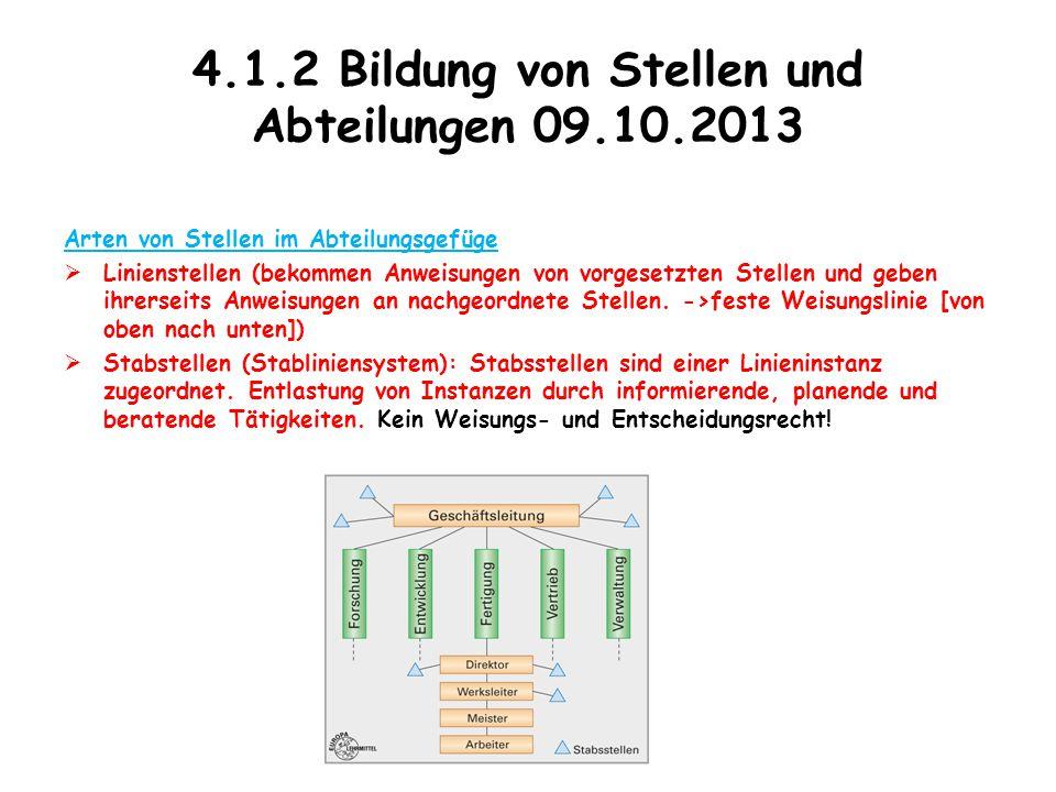 4.1.2 Bildung von Stellen und Abteilungen 09.10.2013 Arten von Stellen im Abteilungsgefüge  Linienstellen (bekommen Anweisungen von vorgesetzten Stel