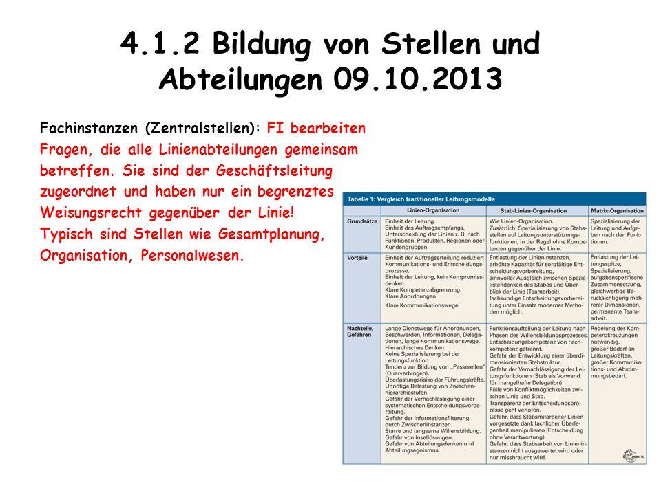 4.1.2 Bildung von Stellen und Abteilungen 09.10.2013 Fachinstanzen (Zentralstellen): FI bearbeiten Fragen, die alle Linienabteilungen gemeinsam betref