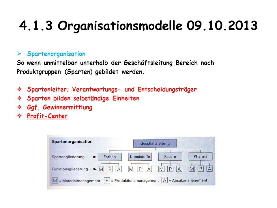 4.1.3 Organisationsmodelle 09.10.2013  Spartenorganisation So wenn unmittelbar unterhalb der Geschäftsleitung Bereich nach Produktgruppen (Sparten) g