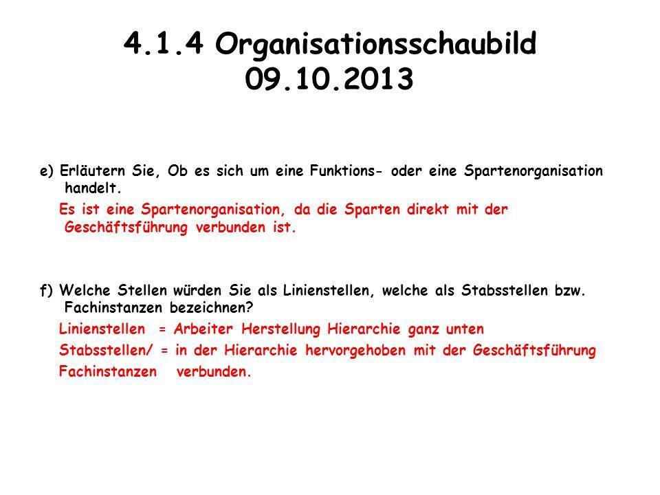 4.1.4 Organisationsschaubild 09.10.2013 e) Erläutern Sie, Ob es sich um eine Funktions- oder eine Spartenorganisation handelt. Es ist eine Spartenorga