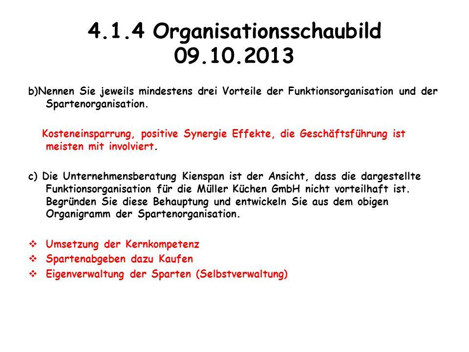 4.1.4 Organisationsschaubild 09.10.2013 b)Nennen Sie jeweils mindestens drei Vorteile der Funktionsorganisation und der Spartenorganisation. Kostenein