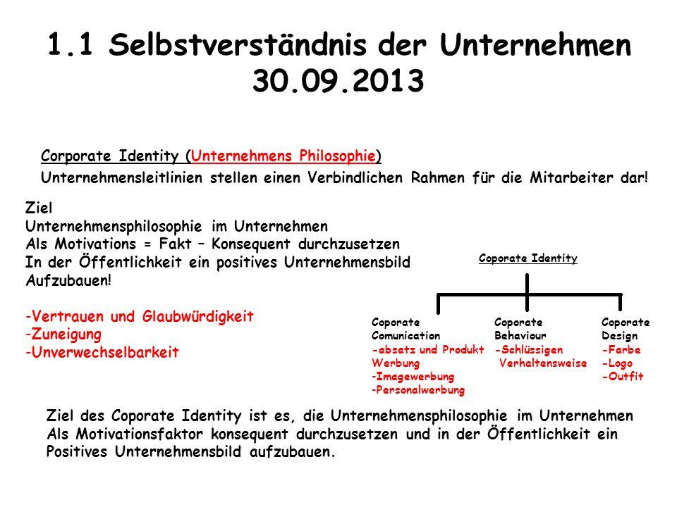1.1 Selbstverständnis der Unternehmen 30.09.2013 Corporate Identity (Unternehmens Philosophie) Unternehmensleitlinien stellen einen Verbindlichen Rahm