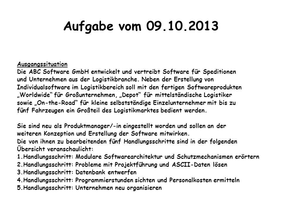 Aufgabe vom 09.10.2013 Ausgangssituation Die ABC Software GmbH entwickelt und vertreibt Software für Speditionen und Unternehmen aus der Logistikbranc