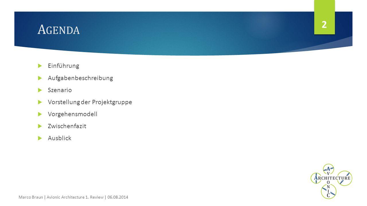 S ZENARIO R OBOTERFUSSBALL - ERWEITERT 13 Marco Braun | Avionic Architecture 1. Review | 06.08.2014