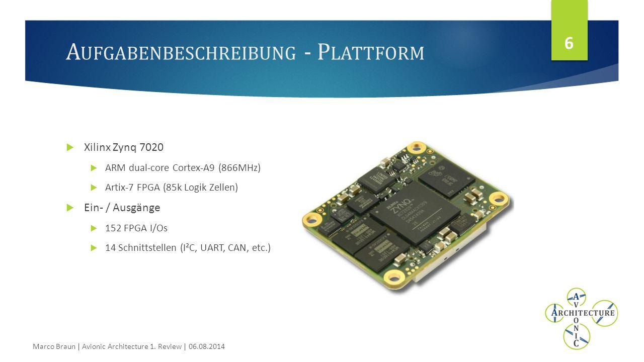 A UFGABENBESCHREIBUNG - P LATTFORM 6  Xilinx Zynq 7020  ARM dual-core Cortex-A9 (866MHz)  Artix-7 FPGA (85k Logik Zellen)  Ein- / Ausgänge  152 FPGA I/Os  14 Schnittstellen (I²C, UART, CAN, etc.) Marco Braun | Avionic Architecture 1.