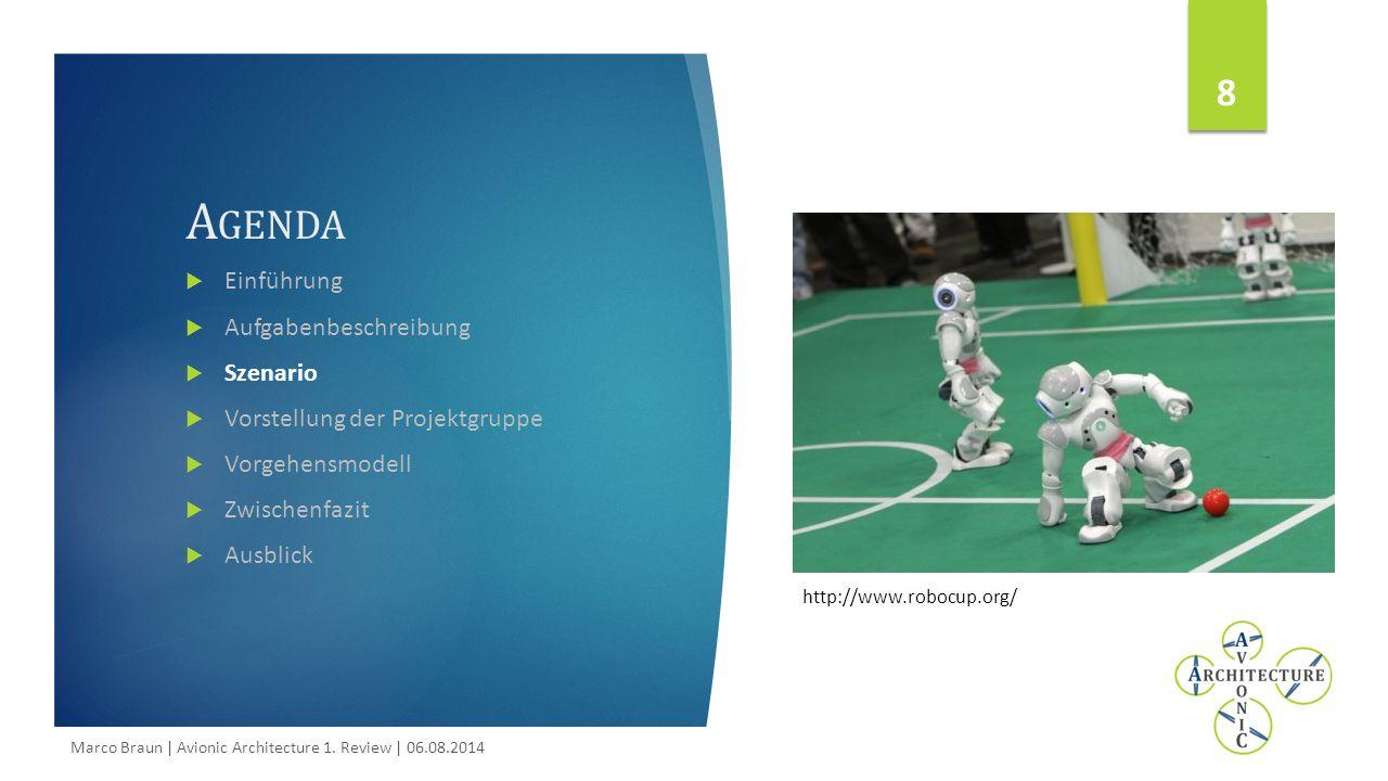 8 A GENDA  Einführung  Aufgabenbeschreibung  Szenario  Vorstellung der Projektgruppe  Vorgehensmodell  Zwischenfazit  Ausblick http://www.robocup.org/