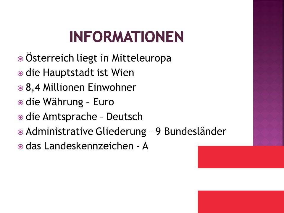  Österreich liegt in Mitteleuropa  die Hauptstadt ist Wien  8,4 Millionen Einwohner  die Währung – Euro  die Amtsprache – Deutsch  Administrative Gliederung – 9 Bundesländer  das Landeskennzeichen - A