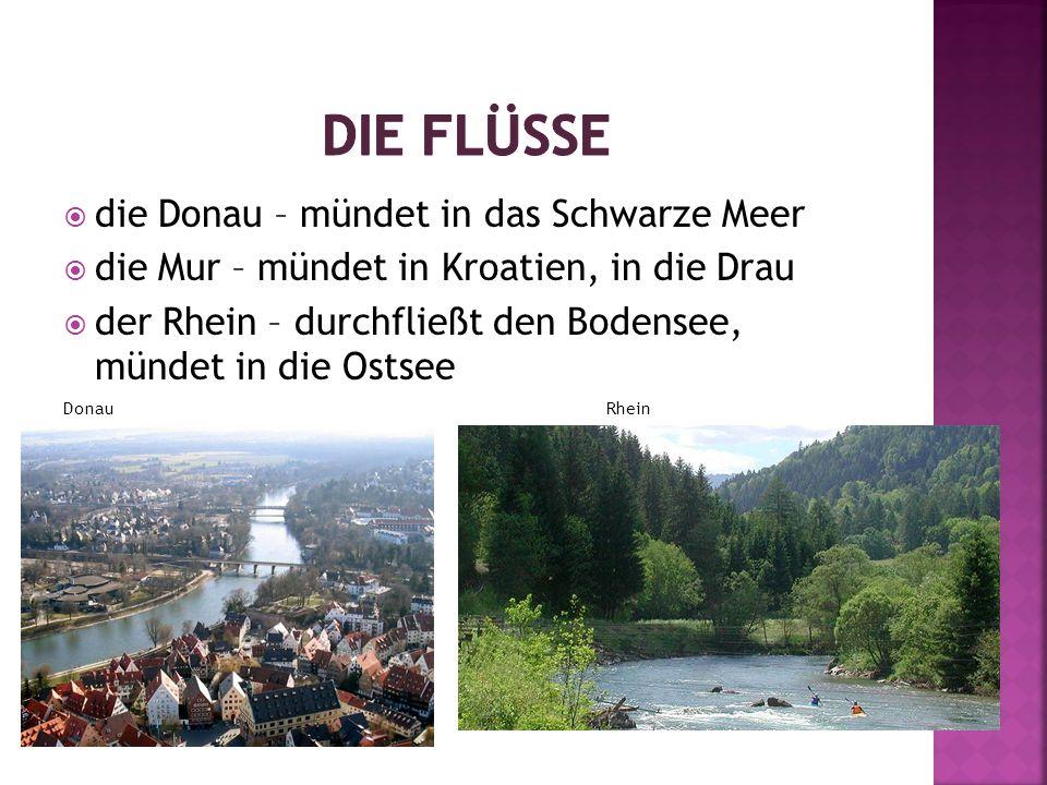  die Donau – mündet in das Schwarze Meer  die Mur – mündet in Kroatien, in die Drau  der Rhein – durchfließt den Bodensee, mündet in die Ostsee Donau Rhein