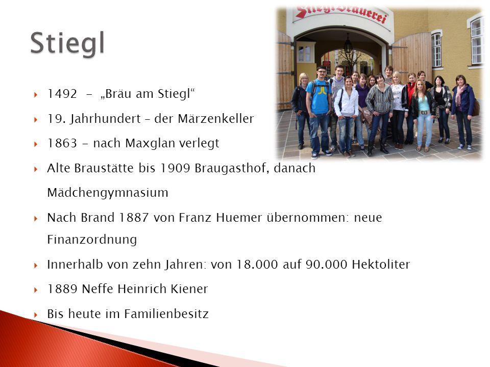 """ 1492 - """"Bräu am Stiegl""""  19. Jahrhundert – der Märzenkeller  1863 - nach Maxglan verlegt  Alte Braustätte bis 1909 Braugasthof, danach Mädchengym"""