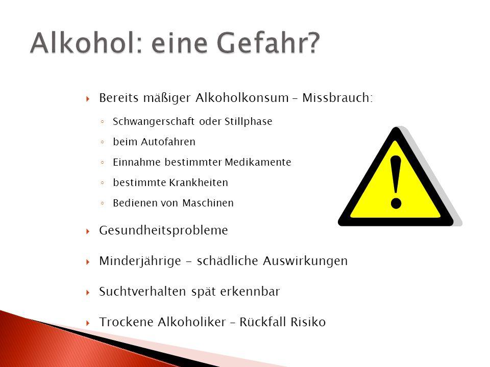  Bereits mäßiger Alkoholkonsum – Missbrauch: ◦ Schwangerschaft oder Stillphase ◦ beim Autofahren ◦ Einnahme bestimmter Medikamente ◦ bestimmte Krankh