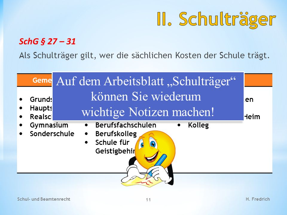SchG § 27 – 31 Als Schulträger gilt, wer die sächlichen Kosten der Schule trägt.