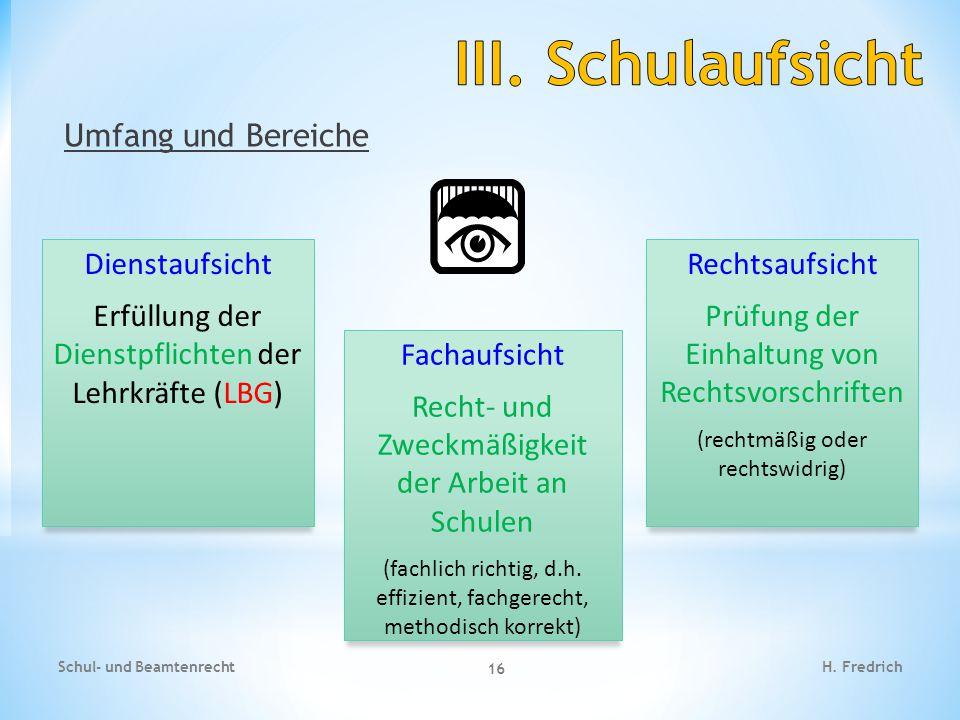 Umfang und Bereiche Schul- und Beamtenrecht 16 H.