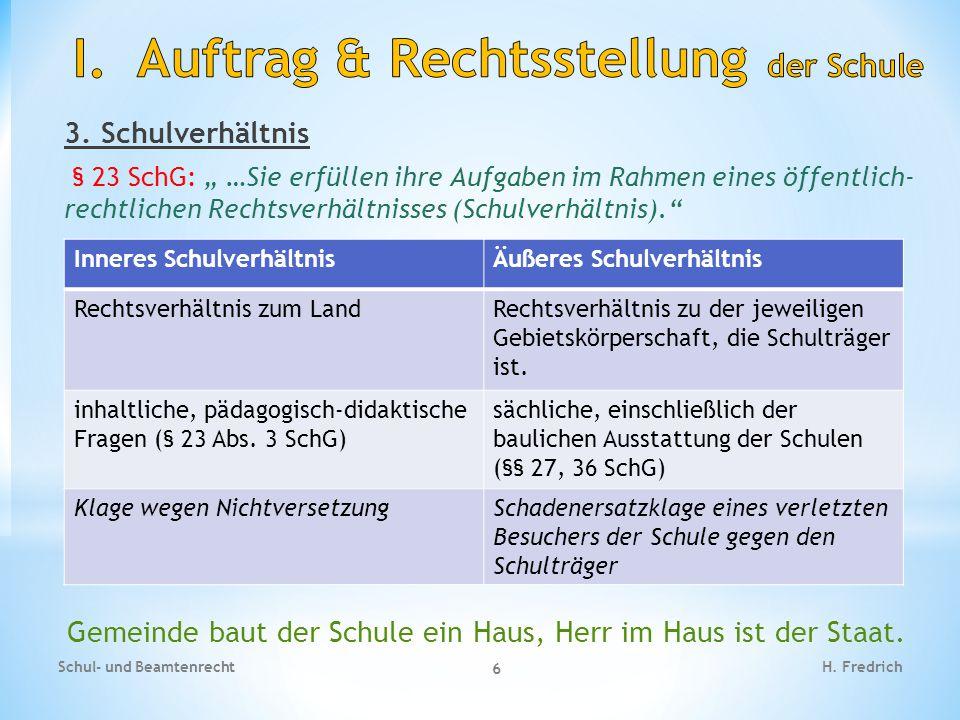 """3. Schulverhältnis § 23 SchG: """" …Sie erfüllen ihre Aufgaben im Rahmen eines öffentlich- rechtlichen Rechtsverhältnisses (Schulverhältnis)."""" Schul- und"""