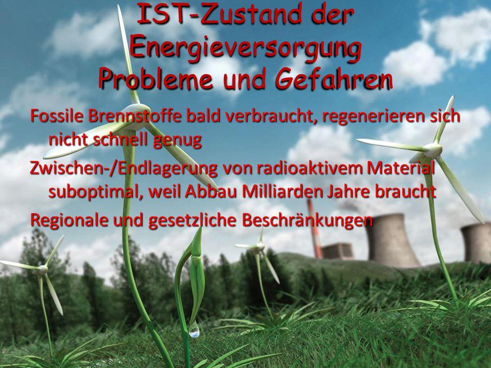 IST-Zustand der Energieversorgung Probleme und Gefahren Fossile Brennstoffe bald verbraucht, regenerieren sich nicht schnell genug Zwischen-/Endlageru