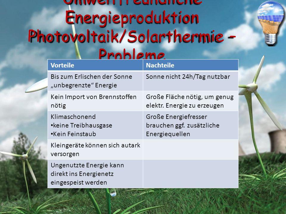 """Umweltfreundliche Energieproduktion Photovoltaik/Solarthermie – Probleme VorteileNachteile Bis zum Erlischen der Sonne """"unbegrenzte"""" Energie Sonne nic"""