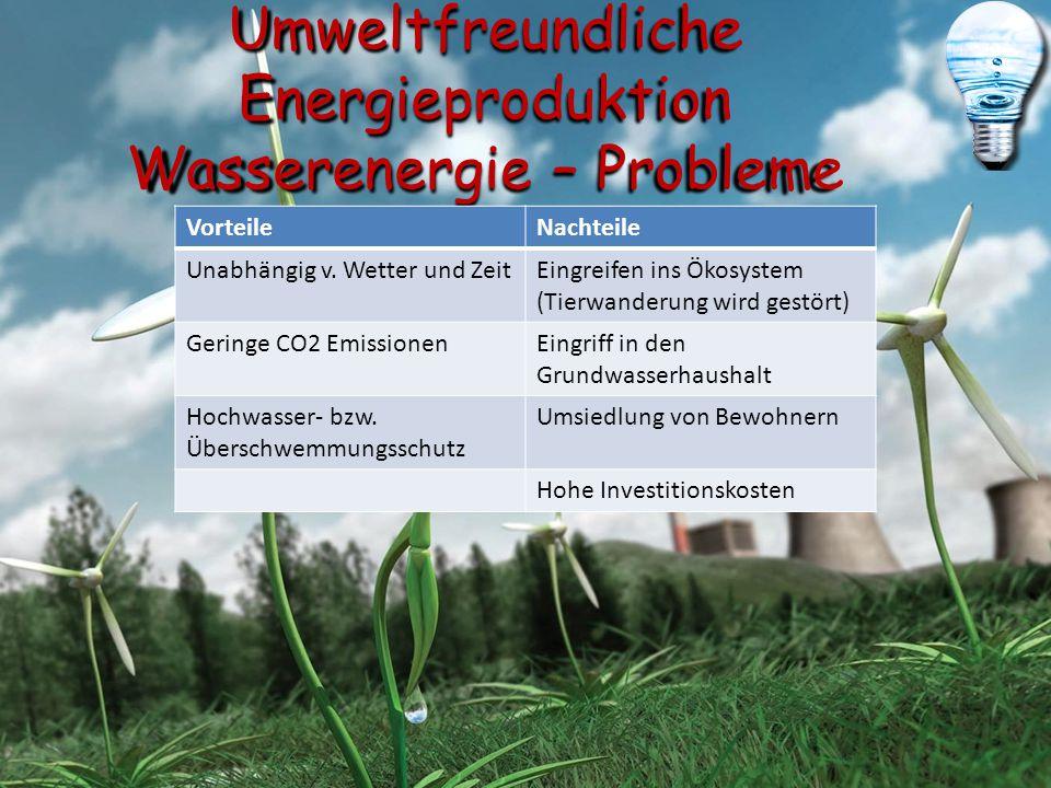 Umweltfreundliche Energieproduktion Wasserenergie – Probleme VorteileNachteile Unabhängig v. Wetter und ZeitEingreifen ins Ökosystem (Tierwanderung wi