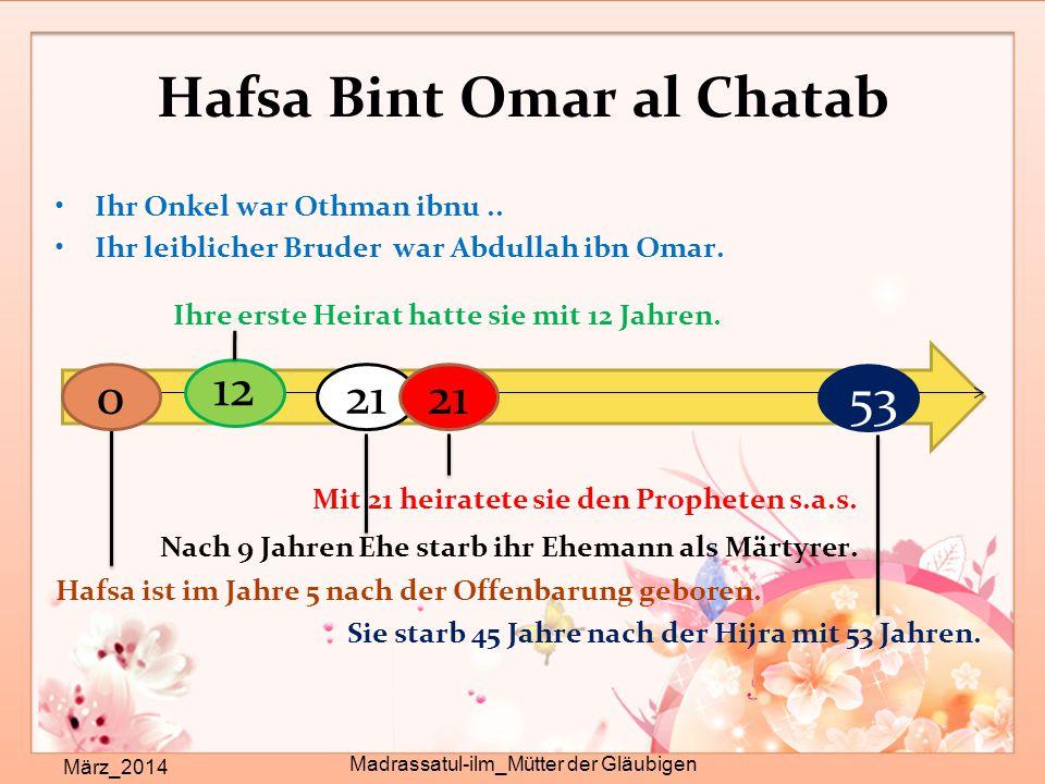 Hafsa Bint Omar al Chatab Ihr Onkel war Othman ibnu.. Ihr leiblicher Bruder war Abdullah ibn Omar. Ihre erste Heirat hatte sie mit 12 Jahren. Mit 21 h