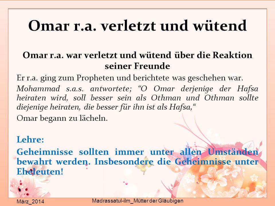 Heiratsgründe bei Hafsa r.a..