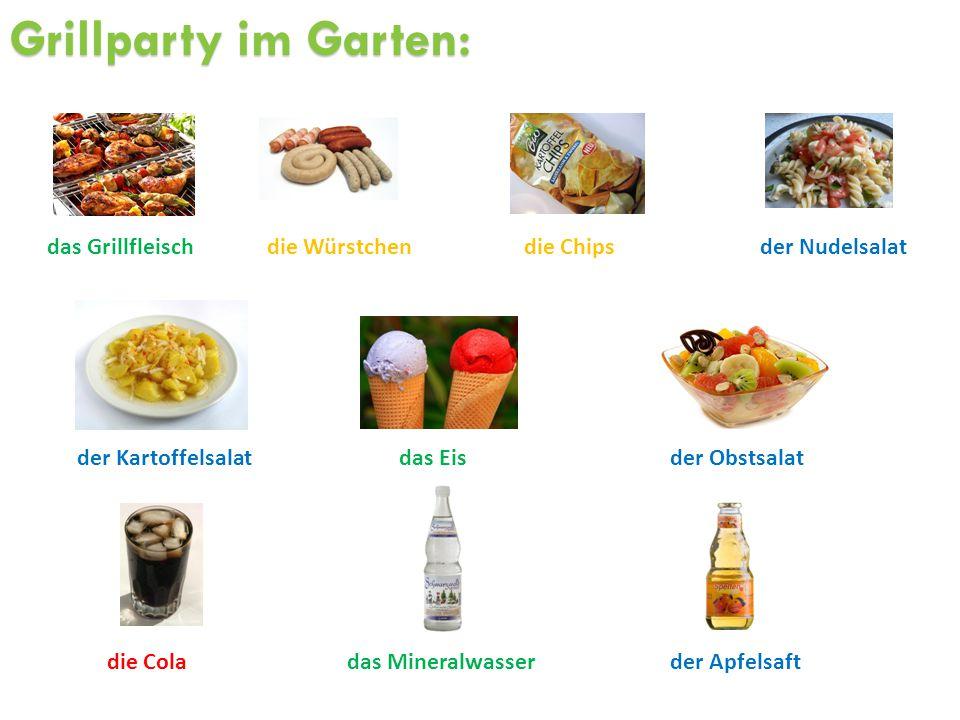 Grillparty im Garten: die Würstchen das Mineralwasser der Kartoffelsalat die Chips der Obstsalatdas Eis der Nudelsalatdas Grillfleisch die Colader Apf