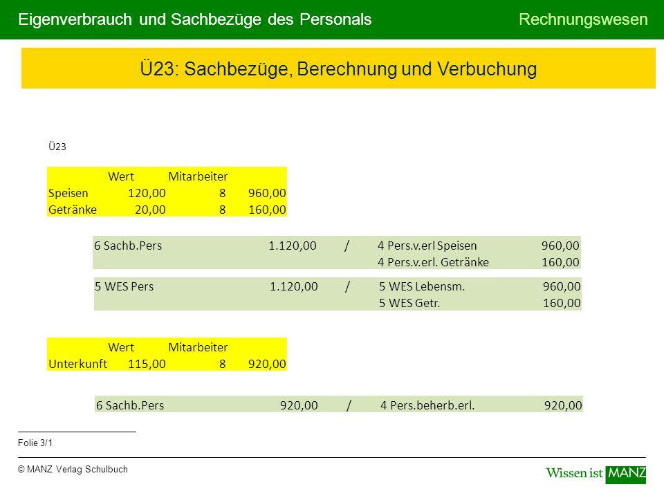 © MANZ Verlag Schulbuch Rechnungswesen Folie 3/1 Eigenverbrauch und Sachbezüge des Personals Ü23 WertMitarbeiter Speisen 120,008 960,00 Getränke 20,00