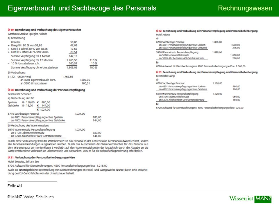 © MANZ Verlag Schulbuch Rechnungswesen Folie 4/1 Eigenverbrauch und Sachbezüge des Personals