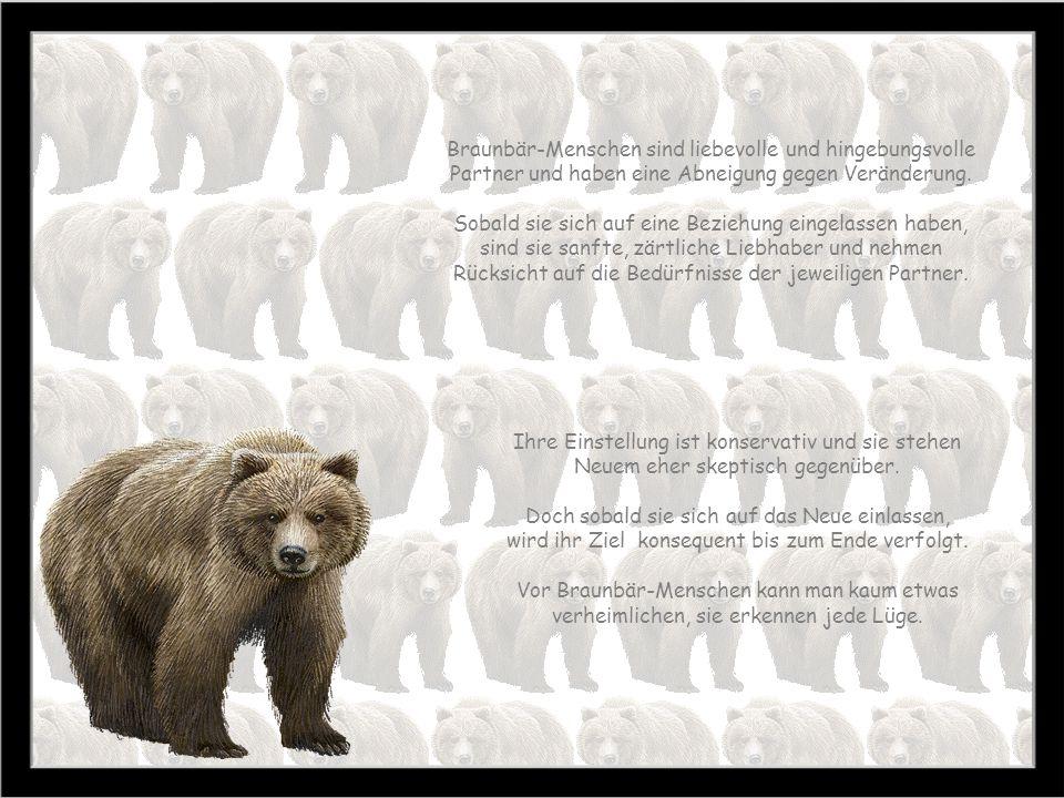 Braunbär 22. 8. – 21. 9. Zeit des Erntens Baum: Weissbuche Stein: Topas Farbe: purpur Braunbär-Menschen sind praktische und realitätsbezogene Menschen