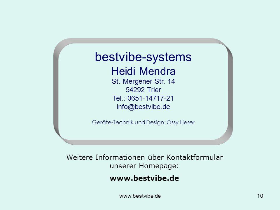 """www.bestvibe.de9 Die """"bestvibe -Geräte werden mit Erfolg im Zellbiologischen Gesamtkonzept – der Zellbiologischen- Regulations-Therapie (ZRT®) eingesezt."""