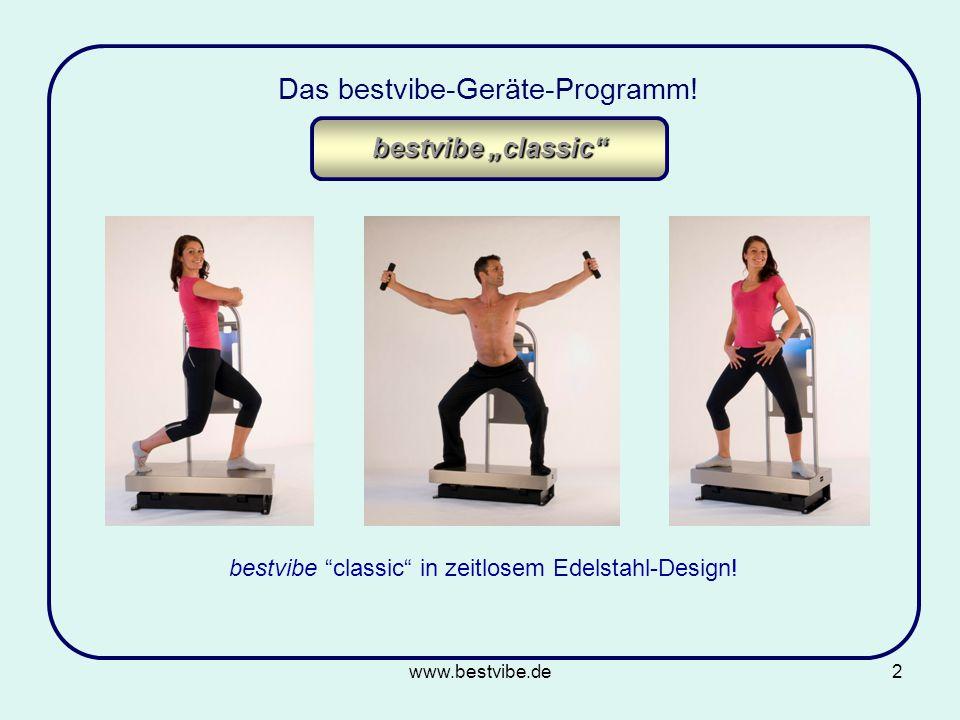 www.bestvibe.de2 Das bestvibe-Geräte-Programm.bestvibe classic in zeitlosem Edelstahl-Design.