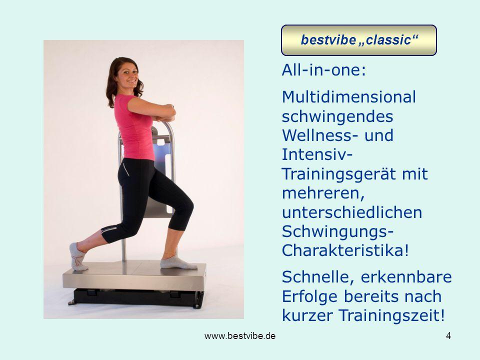 www.bestvibe.de4 All-in-one: Multidimensional schwingendes Wellness- und Intensiv- Trainingsgerät mit mehreren, unterschiedlichen Schwingungs- Charakteristika.