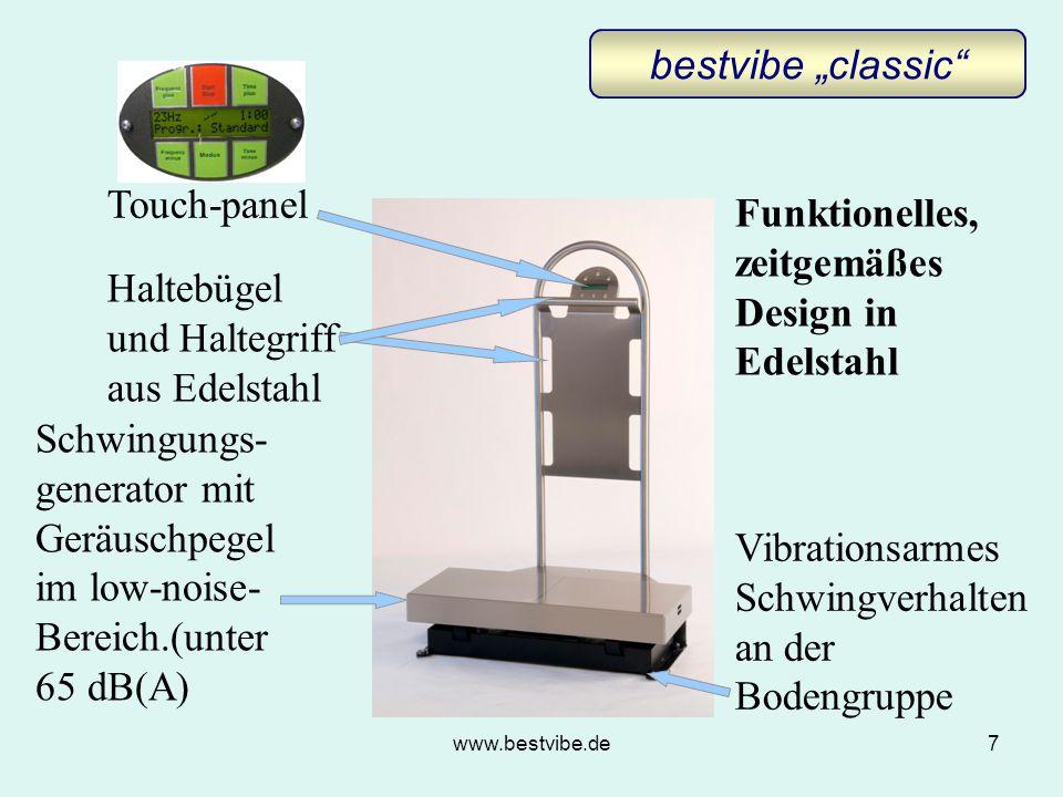 """www.bestvibe.de7 Schwingungs- generator mit Geräuschpegel im low-noise- Bereich.(unter 65 dB(A) Haltebügel und Haltegriff aus Edelstahl Vibrationsarmes Schwingverhalten an der Bodengruppe Funktionelles, zeitgemäßes Design in Edelstahl bestvibe """"classic Touch-panel"""