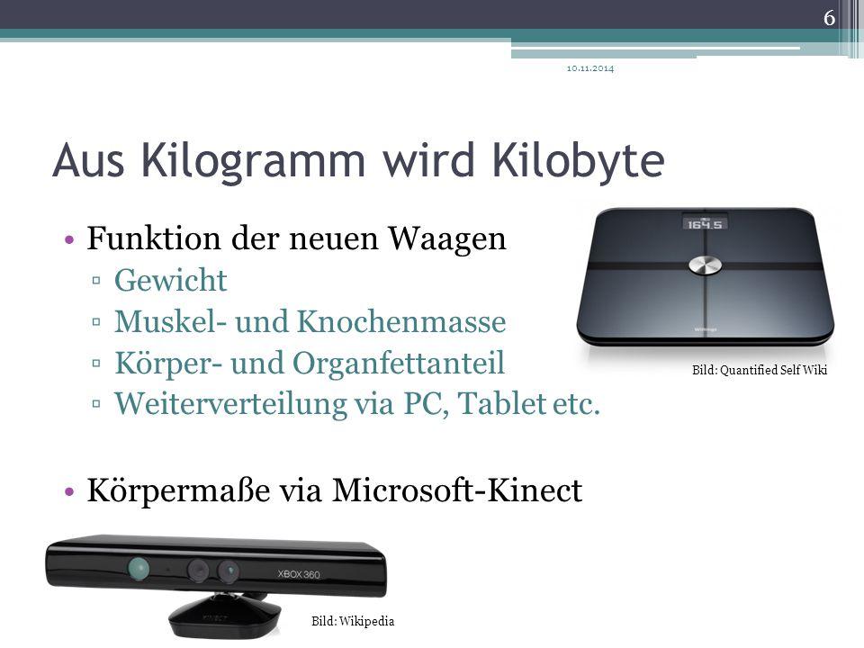 Aus Kilogramm wird Kilobyte Funktion der neuen Waagen ▫Gewicht ▫Muskel- und Knochenmasse ▫Körper- und Organfettanteil ▫Weiterverteilung via PC, Tablet