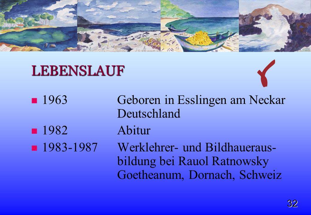32 LEBENSLAUF 1963 Geboren in Esslingen am Neckar Deutschland 1982Abitur 1983-1987Werklehrer- und Bildhaueraus- bildung bei Rauol Ratnowsky Goetheanum
