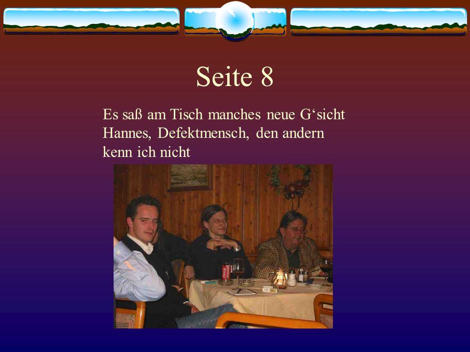 Seite 8 Es saß am Tisch manches neue G'sicht Hannes, Defektmensch, den andern kenn ich nicht