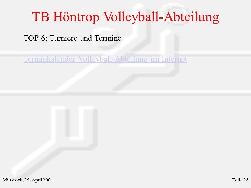TB Höntrop Volleyball-Abteilung Mittwoch, 25. April 2001Folie 28 TOP 6: Turniere und Termine Terminkalender Volleyball-Abteilung im Internet