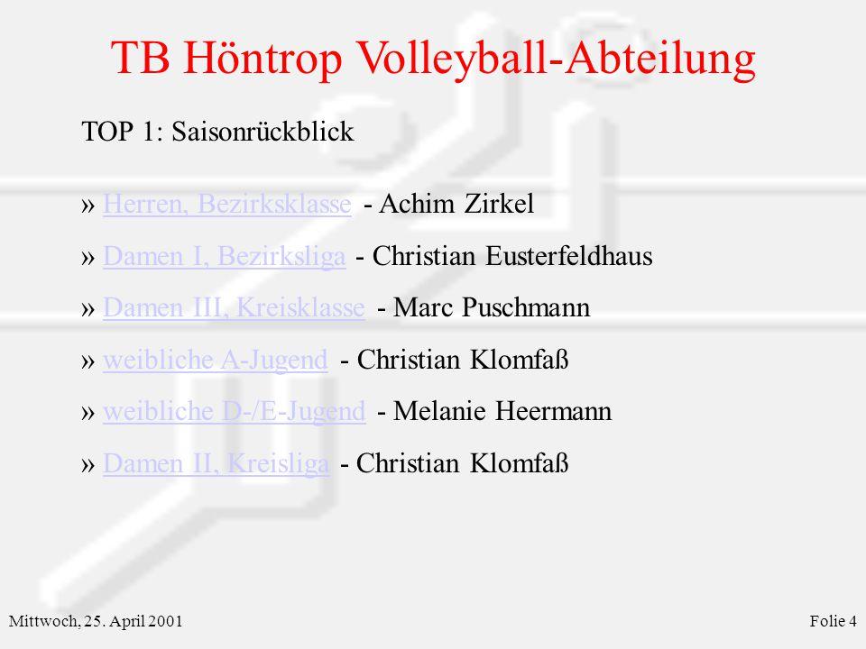 TB Höntrop Volleyball-Abteilung Mittwoch, 25. April 2001Folie 4 » Herren, Bezirksklasse - Achim ZirkelHerren, Bezirksklasse » Damen I, Bezirksliga - C