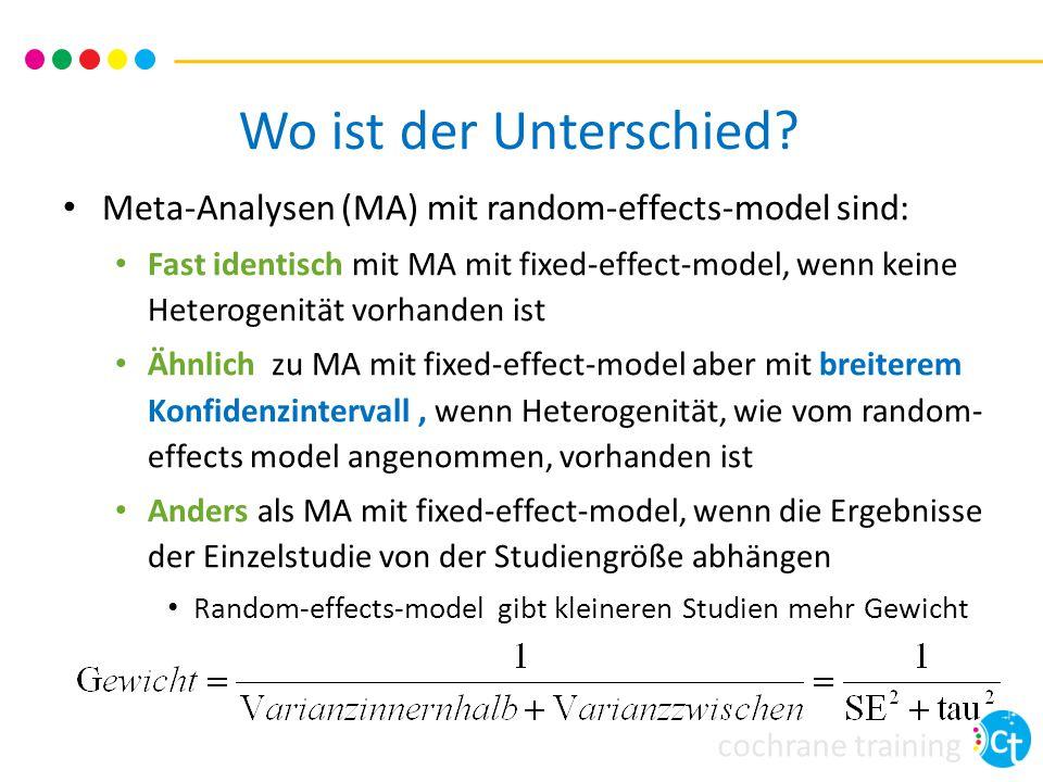 cochrane training Wo ist der Unterschied? Meta-Analysen (MA) mit random-effects-model sind: Fast identisch mit MA mit fixed-effect-model, wenn keine H