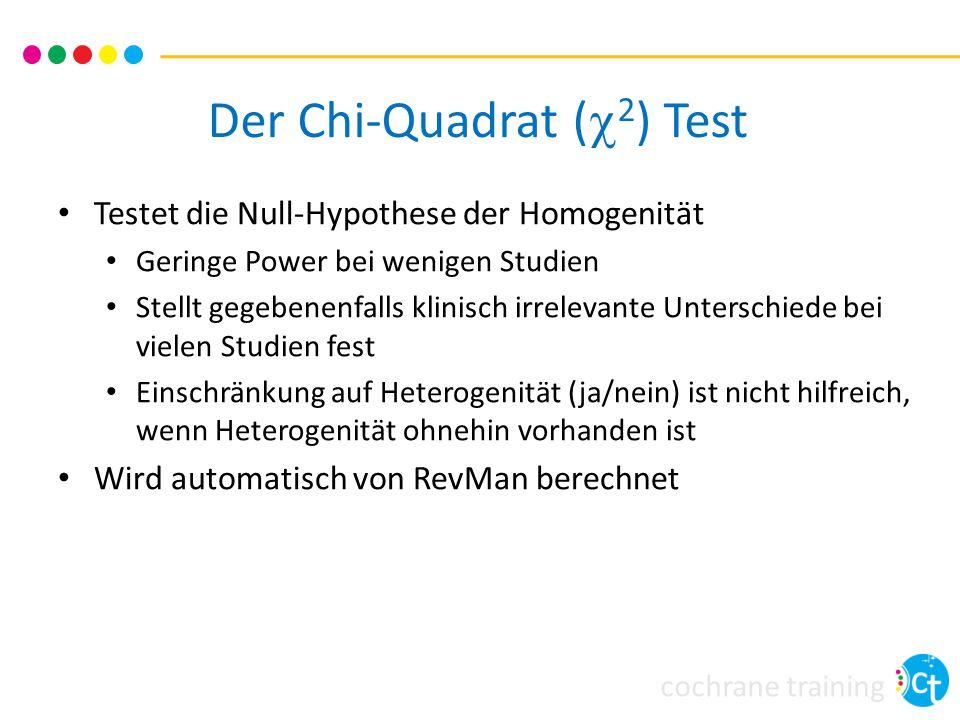 cochrane training Der Chi-Quadrat (  2 ) Test Testet die Null-Hypothese der Homogenität Geringe Power bei wenigen Studien Stellt gegebenenfalls klini