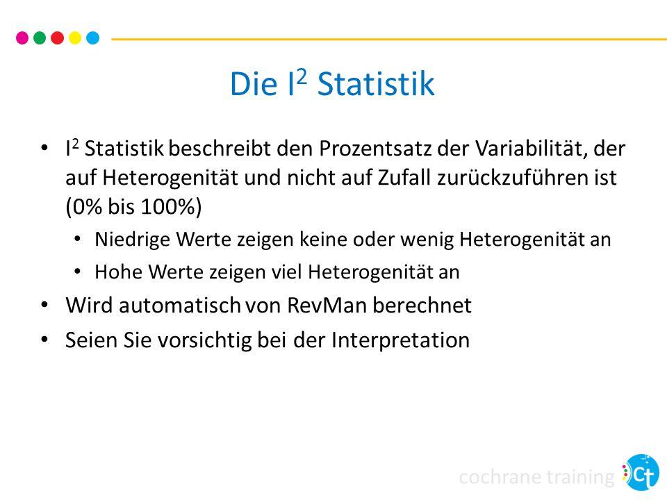 cochrane training Die I 2 Statistik I 2 Statistik beschreibt den Prozentsatz der Variabilität, der auf Heterogenität und nicht auf Zufall zurückzuführ