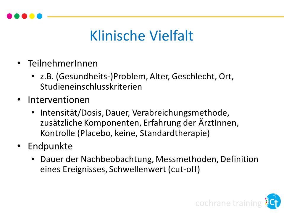 cochrane training Methodische Vielfalt Design z.B.