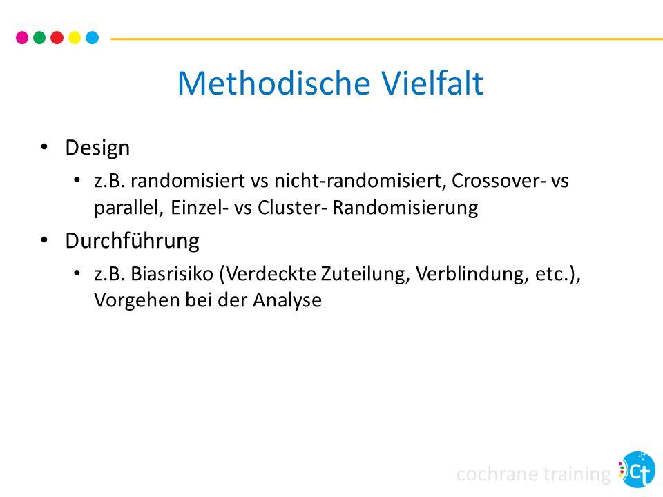 cochrane training Methodische Vielfalt Design z.B. randomisiert vs nicht-randomisiert, Crossover- vs parallel, Einzel- vs Cluster- Randomisierung Durc