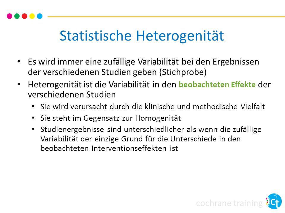 cochrane training Statistische Heterogenität Es wird immer eine zufällige Variabilität bei den Ergebnissen der verschiedenen Studien geben (Stichprobe