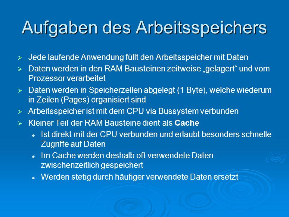 """Aufgaben des Arbeitsspeichers   Jede laufende Anwendung füllt den Arbeitsspeicher mit Daten   Daten werden in den RAM Bausteinen zeitweise """"gelage"""