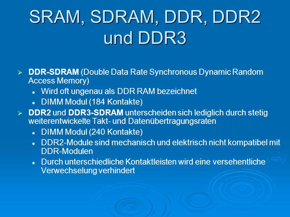 SRAM, SDRAM, DDR, DDR2 und DDR3   DDR-SDRAM (Double Data Rate Synchronous Dynamic Random Access Memory) Wird oft ungenau als DDR RAM bezeichnet DIMM