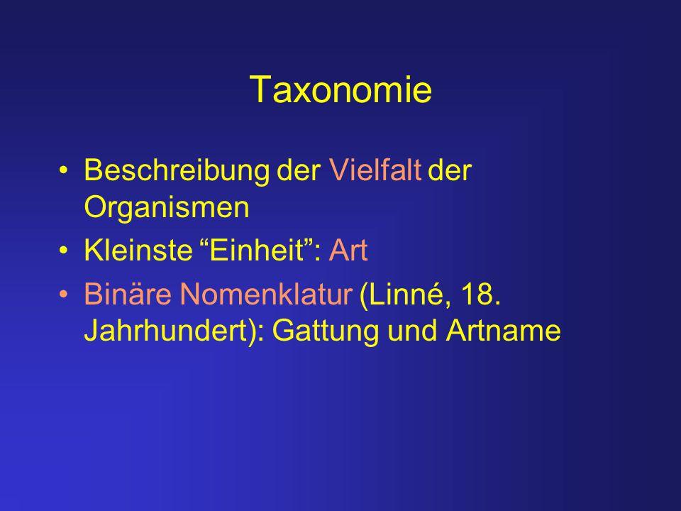 Taxonomie Ziele der Taxonomie: –Auseinanderhalten von nahe verwandten Lebewesen und Beschreibung ihrer diagnostischen Merkmale –Entwicklung eines hierarchischen Ordnungssystems